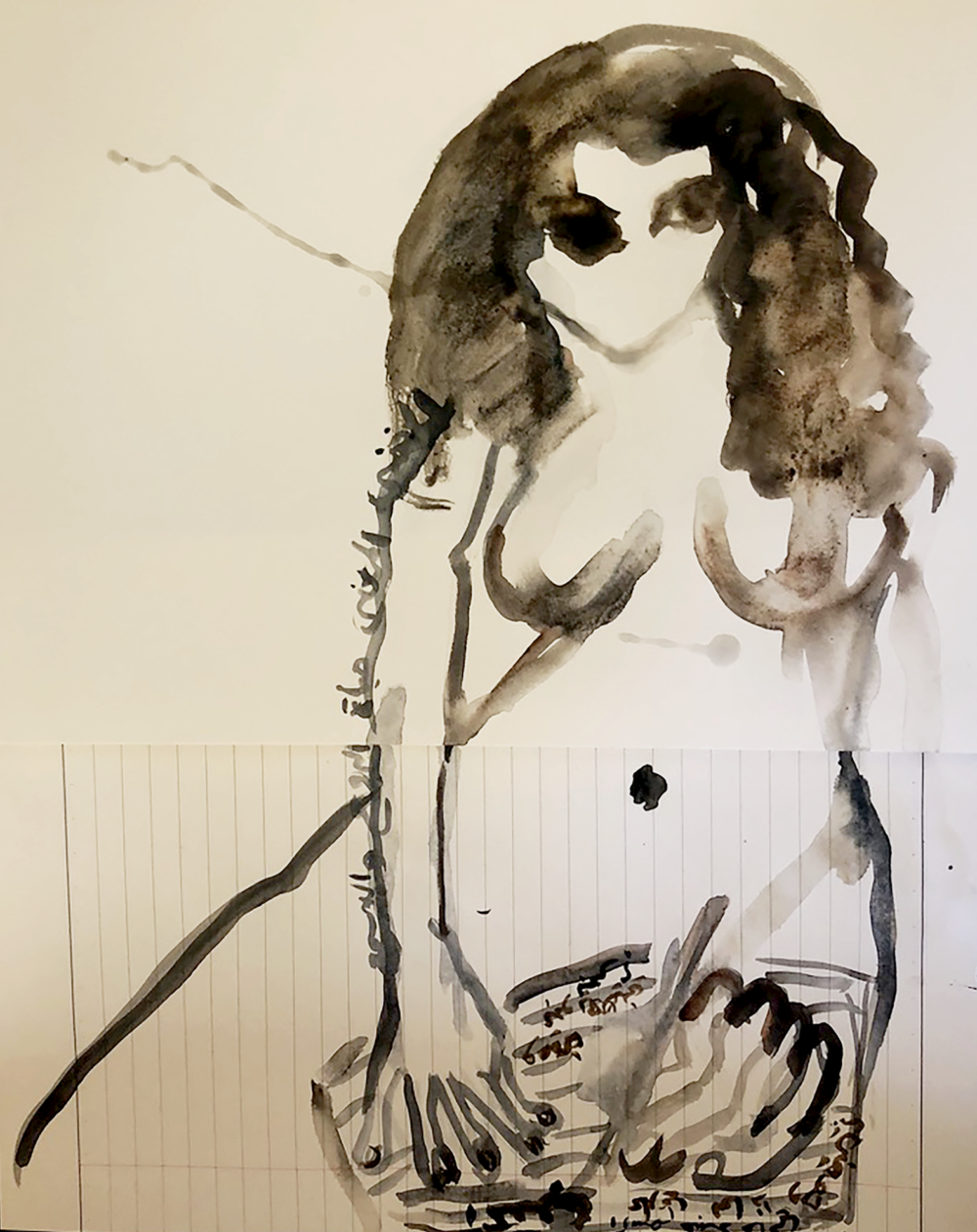 Mounira Al Solh, Self-Portrait, 2020, Mixed media on paper, 11 5/8 x 17 inches (29.7 x 43 cm), Courtesy of the artist