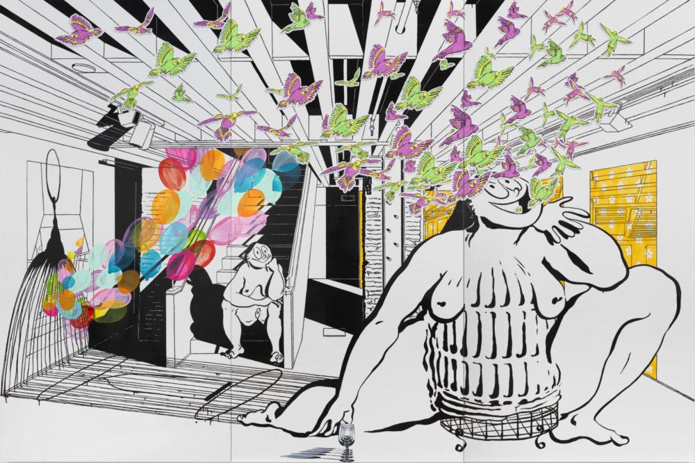 Ebecho Muslimova, Fatebe Phantom Cage, 2020, Enamel and oil paint on Dibond aluminum, 96 x 144 in