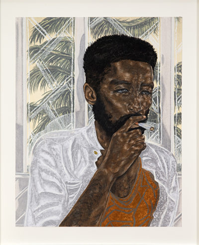 Toyin Ojih Odutola, Taking Chances, 2017. Charcoal, pastel, and pencil on paper, 24  × 19 inches. Private Collection.