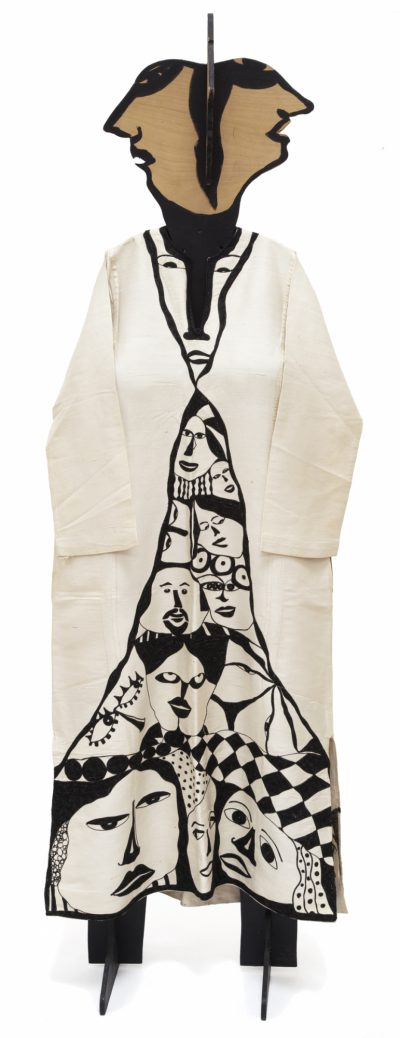 Huguette Caland, Foule, 1970 (Dress), 1985 (Mannequin). Thread on fabric with accompanying wood mannequin with foam, 73 × 18 9/10 × 12 inches. Hammer Museum, LA.