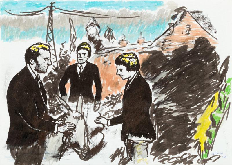 Neo Rauch, Die Eselpfleger, 2013. Felt-tip pen and oil on paper, 8 1/4  11 5/8 inches. Courtesy the artist, Galerie EIGEN + ART Leipzig/Berlin and David Zwirner © Neo Rauch, VG Bild-Kunst, Bonn / Artists Rights Society (ARS), New York.