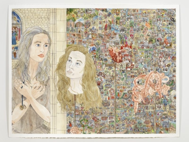 Jennifer Reiland, Princesses, 2017. Watercolor and pen on paper,  38 × 50 inches.