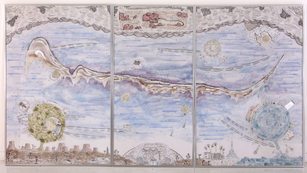 Image: Kunlin He, 2092: Tale of Moon Trip, 2019. Acrylic and ink drawing on aluminum, mylar, and acrylic sheet, 132  72 inches. Courtesy of the artist and NanHai Art.