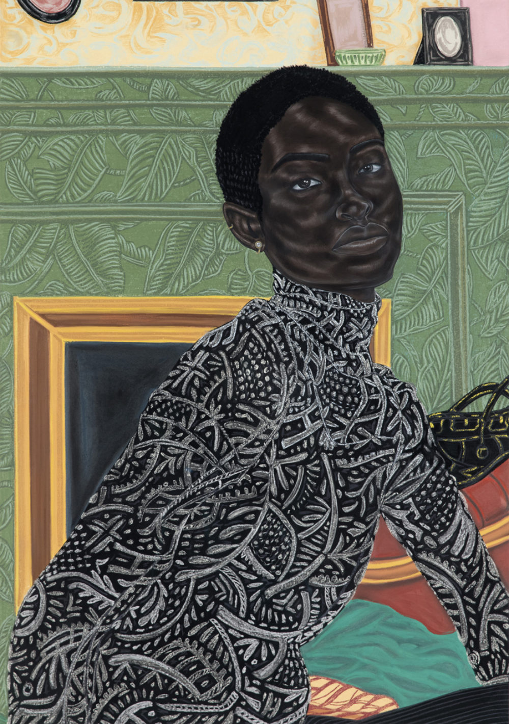 Toyin Ojih Odutola, Paris Apartment, 2016–17. Charcoal, pastel, and pencil on paper, 59 ⅜ × 42 inches. Private collection, New York.