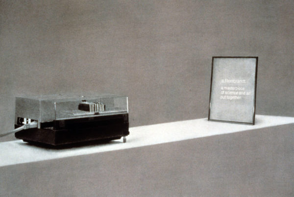 Mike Stevenson, Projector and slide with inscription A Rembrandt..., 1995
