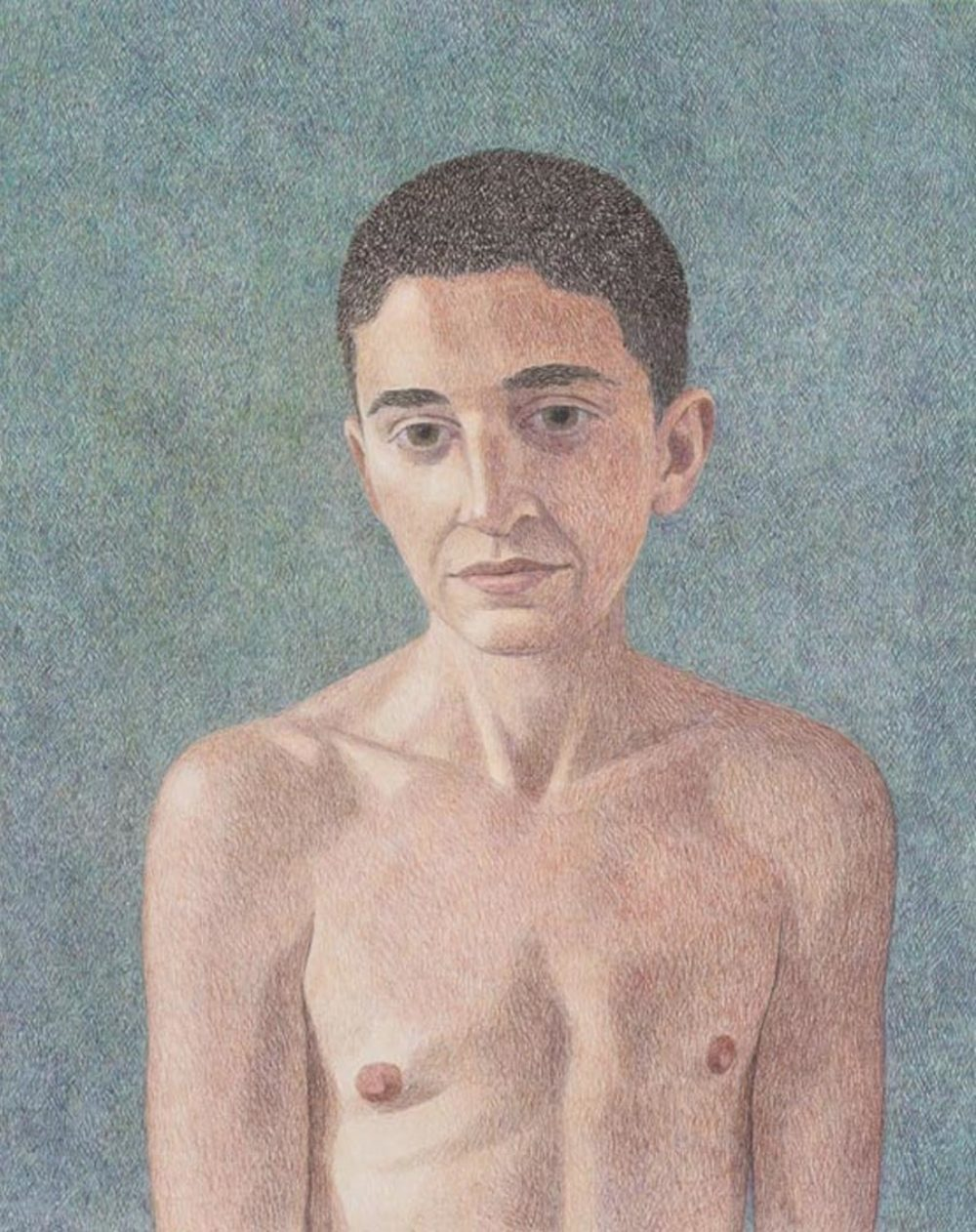 Elijah Burgher, Gordon, 2015. Color pencil on paper,  24 × 19 inches. Collection of Thomas Lavin.