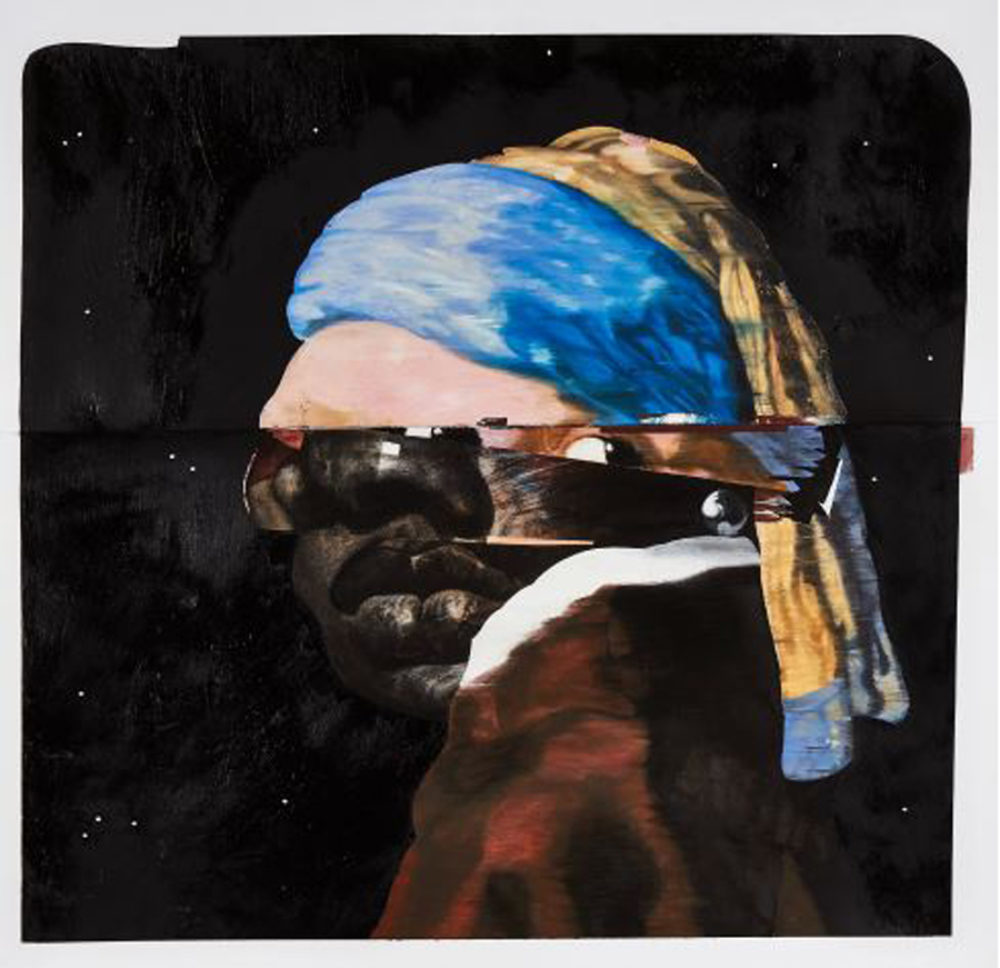 Nathaniel Mary Quinn, Erica with the Pearl Earring, 2015. Black charcoal, gouache, soft pastel, oil pastel, oil paint, paint stick, and silver oil pastel on Coventry vellum paper, 25 ½ × 25 ½ inches. Collection of Rhona Hoffman.